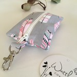 Essential Oil Keyring Grey & Pink Feathers