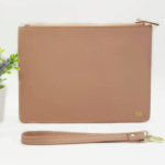 Nude Monogrammed Leather Clutch - Beige Personalised Leather Bag