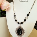 Necklace - Long - Black - Agate/Onyx - Crystal - Antique Silver - Classic - N044