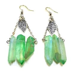 Antique Silver Leaf and Green Quartz Earrings, Gemstone Earrings, Boho Earrings