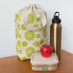 Insulated lunch tote in green Succulent design. Lunch bag for women.