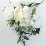 Ivory Peony Bridal Bouquet with Dusty Miller & Eucalyptus Gum Leaves