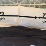 My Side, your side novelty pillow cases. Wedding, anniversary, engagement