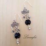 Earring - Chandelier - Black - Metallic -Swarovski - Sterling silver hook - E047