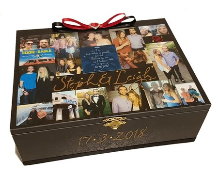 'Our Journey' Collage Photo Keepsake Memory Wedding Wooden Box