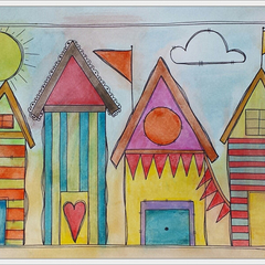 ORIGINAL A3 watercolour and Ink. Weathered Beach Houses.