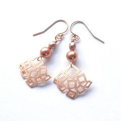 Geo Gold and pearl drop earrings