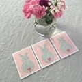Bunny Card Set of 3 Easter Birthday Baby Shower Pink Turquoise Repurposed Paper