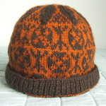 Unisex Beanie / Cloche Hat, Pure Wool,  Hand Knitted Fair Isle