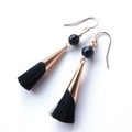 Onyx black and Tassel drop gold earrings