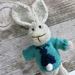 Bailey the Hand Knitted Big Eared Knitted Bunny with a Green Bunny Jumper