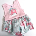 """Size 6 to 12 Months """"Elephant Splash"""" Nappy Pants and Appliqued Singlet"""