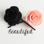 Black and Pink Flower Hair Pins
