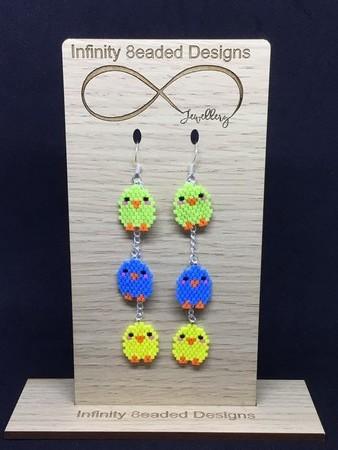 Easter Chicken Beaded Earrings