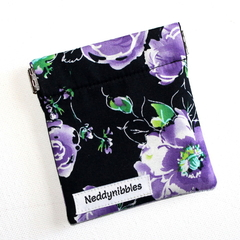 Little Pouch with Flexible Frame Opening in Floral Fabric