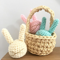 Easter Basket with one crochet Bunny Rattle
