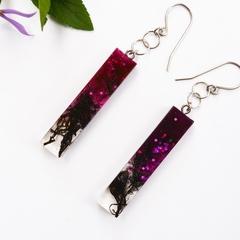 Resin Midnight Plum and Glitter Earrings, Handmade Rectangle Dangles