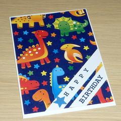 Kids Happy Birthday card - dinosaurs