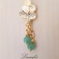 Brooch - Gold - Leaf - Green -  Aventurine - Simple - Pretty - BR048