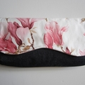 Clutch bag, nappy wallet- pink and white magnolias sateen and navy denim