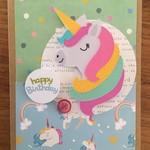 Unicorn card  - handmade - happy birthday - free Aus Post