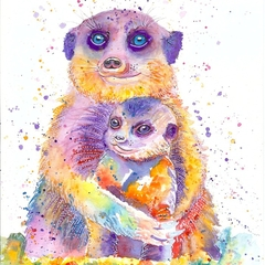 'Mum' ORIGINAL meerkat watercolour painting
