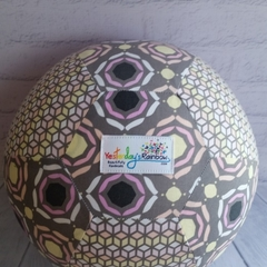 Balloon Ball: Softer Charcoal Grey, Pink, Peach & Lemon.