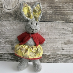 Daisy the Knitted Bunny Rabbit Toy with Yellow  Skirt with Pompom trim