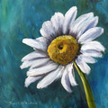 Daisy, Original Acrylic Floral painting, White Flower, Gift Idea, Colourful