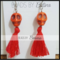 BEE//SUGAR: Skull & Tassel Earrings in Orange/Red