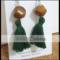 BEE//NATURAL: Wood & Forest Green Tassel Earrings