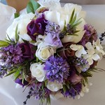 Peony and Rose Purple & White Lavender Rustic Bridal Bouquet with Groom's Button