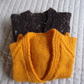 Size 1-3 yrs hand knitted beanie in Dark brown and multi colour fleck : washable