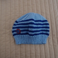 Size 1-3 yrs hand knitted beanie in Blues: washable, affordable, unisex
