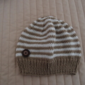 Size 3 yrs (plus) hand knitted beanie in Camel & white : washable, unisex
