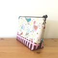 Zipper pouch - birds print brown and pink