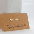 Whale Tail Stud Earrings Sterling Silver
