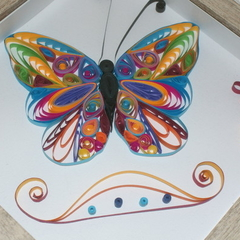 Framed quilled colourful butterfly