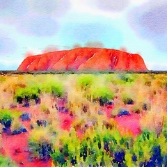 Watercolour Print - Uluru