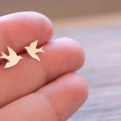 Swallow Studs Sterling Silver Bird Earrings
