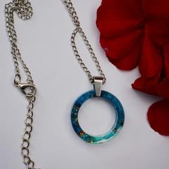 Resin Pendant Summer Blue Ocean, Handmade Circle Necklace