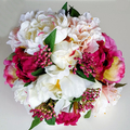 Wedding Bridal Bouquet - Burgundy Ivory Peonies - Silk Wedding Flowers