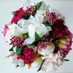 Burgundy, Hot Pink, Ivory Peony Bridal Bouquet, Silk Flowers Peony Bouquet
