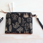 Black and gold Cactus Clutch, wristlet, purse with strap