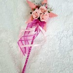 Floral Wand - Pink Star Wand with Butterflies for Flower-girl Wedding Flowers