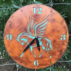 Hand carved leather clock -OOAK