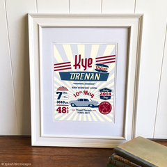 Personalised Baby or Child's Birth Wall Art Printable - Vintage Car Theme