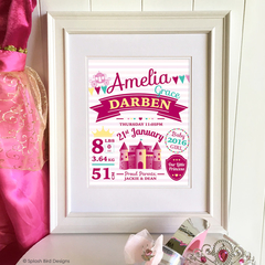 Personalised Baby or Child's Birth Wall Art Printable - Princess Theme