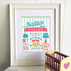 Personalised Baby or Child's Birth Wall Art Printable - Dolls House Theme