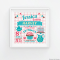 Personalised Baby or Child's Birth Wall Art Printable - Tea Party Theme